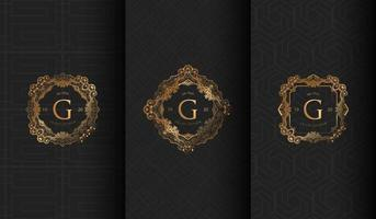uppsättning lyxiga mörkgrå g-logoer vektor