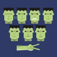 Satz grüne Frankensteinköpfe