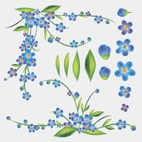 blaue Blumen gesetzt vektor