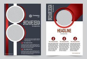 broschyr röd och grå färgmall vektor