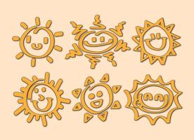 Tecknade Sun Icon Vectors