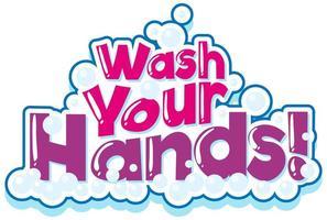 tvätta händerna fras i rosa med bubblor