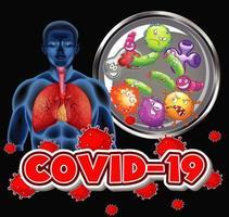 Coronavirus-Thema mit menschlichen und Viruszellen