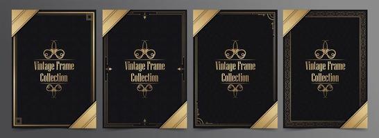 Vintage Rahmenkollektion mit Mustern und goldenen Details vektor
