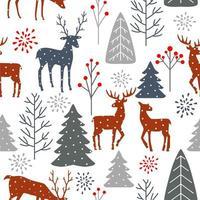 sömlös vinter jul skog med hjort mönster