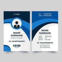 vertikalt ID-kort med blå dynamisk kurvdesign