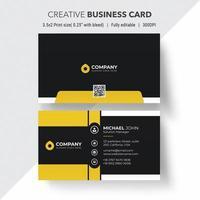 schwarze und gelbe Visitenkarte mit weißen Rändern