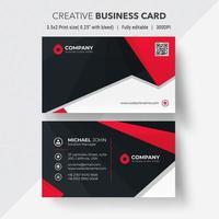 rote und schwarze abgewinkelte Design-Visitenkarte vektor