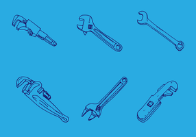 Affe Schraubenschlüssel Vektor Set