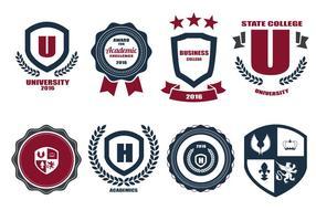 Gratis skola Crests och Logo Vector