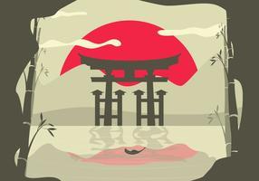 Torii asiatisk bakgrundslandskap vektor