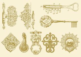 Scharniere Keys und Klopfer vektor
