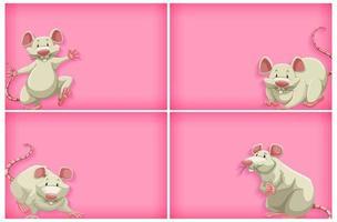 rosa Hintergrundschablonensatz mit weißer Maus vektor