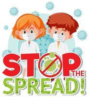 Stoppen Sie das ausgebreitete Poster mit Kindern in Masken vektor