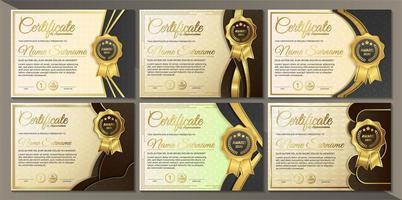 Sammlung von Premium-Zertifikaten in Goldschwarz