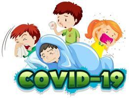 covid 19 Zeichenvorlage mit vielen kranken Kindern vektor