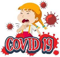 covid-19 mit krankem Mädchen auf weißem Hintergrund