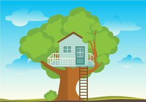 Träd hus platt vektor
