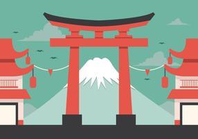 Vektor Fuji och Torii