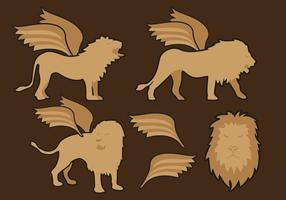 Winged Lions Illustrationer Vector Free