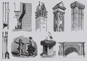 Old Style Drawing skorstenar vektor