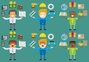 Glückliche Und Angry Arbeiter Vektor Zeichen
