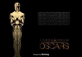 Vektor Realistisk Golden Oscar Statue Bakgrund