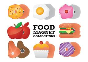 Nahrung Kühlschrankmagnet Sammlungs-Vektoren vektor