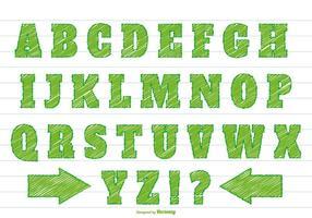 Grünes Gekritzel-Art-Alphabet-Set
