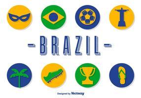 Vektor Brasilien ikoner Set