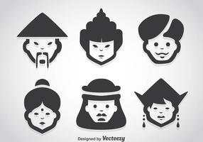 Asiatische Menschen Zeichen Vektor Sets