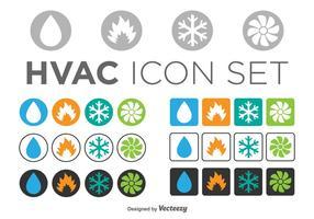 Set av HVAC-ikoner, cirkel och fyrkantiga mallar