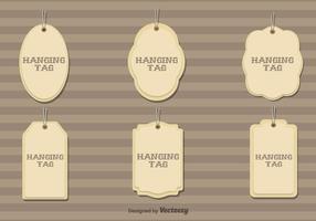 Set av 6 Vector Hängande Kartong Taggar