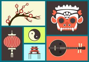 Set of Bali Flat Icons