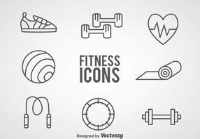 Fitness Outline Ikoner vektor