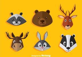 Tecknad djur djur huvud ikoner vektor