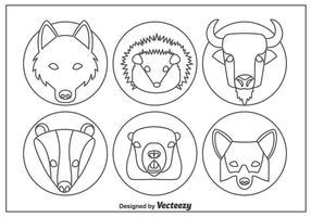 Tier Wald Kopf Linie Icons Vektor
