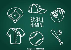 Baseball doodle ikoner vektor