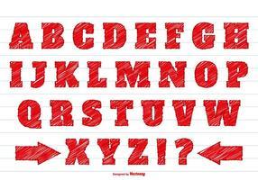Rotes Gekritzel-Stil Alphabet gesetzt vektor