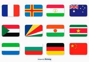 Platt flagg ikonuppsättning