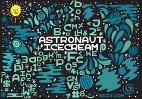 Astronaut Eiscreme Vektor Schriftart