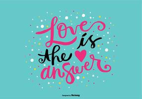 Liebe ist die Antwort Handbeschriftung Vektor