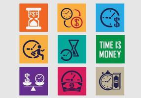 Tid är pengar ikon vektor pack