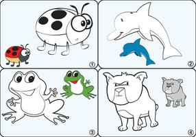 Färgningssida djurvektorer vektor