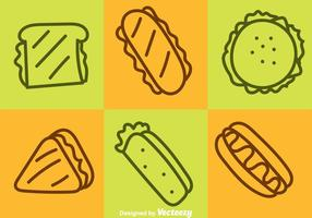 Fast-Food-Outline-Icons vektor