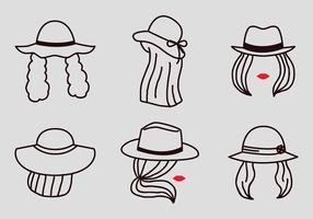 Vector Outline Frauen mit Hüte