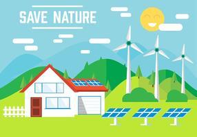 Gratis Eco Landscape Vector Illustration