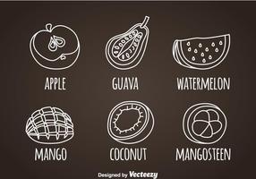 Frukt vit linje ikoner