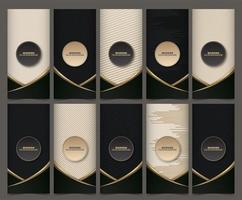 Sammlung von Verpackungsvorlagen mit schwarzgoldenen Etiketten und Rahmen