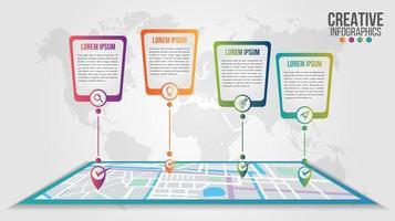 Infografik moderne Zeitleiste über Karte Design-Vorlage vektor
